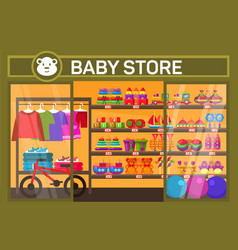 Baby store with children items vector