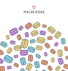 Background of scattered colored doodle macaroon vector image