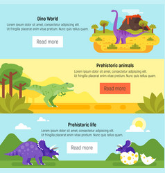 banner with prehistoric landscape and dinosaurs vector image