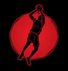 Basketball player jumping and prepare shooting vector