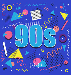 Best 90s illustration with abstract retro vector