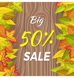 Big 50 percent sale fall banner isolated on wooden vector