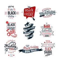 black friday big sale logo sign set vector image