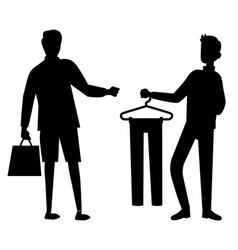 Black men silhouettes in shop looking for clothes vector