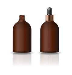 Blank brown round cosmetic bottle dropper lid vector