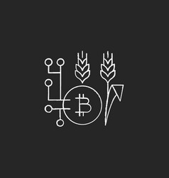 Blockchain technology in agriculture chalk white vector