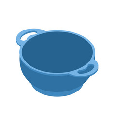 Blue empty bowls for food is isolated isometry vector