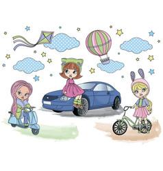 blythe girls doll set vector image
