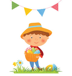 Boy with basket full of eggs for easter vector