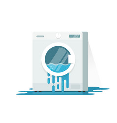 Broken washing machine flat vector
