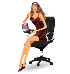 Business woman with laptop vector image