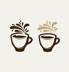 Cafe coffeehouse logo or emblem cup of coffee vector