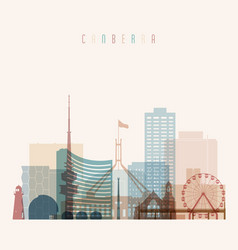 Canberra skyline detailed silhouette vector