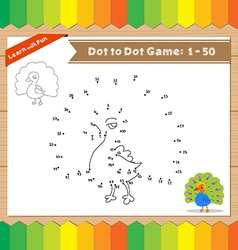 Cartoon Peacock Dot to dot educational game for vector image