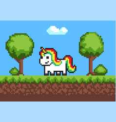 cheerful pixel poney horse on cute green meadow vector image