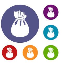 Christmas bag of santa claus icons set vector