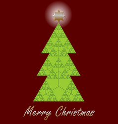Christmas tree fractal designed christmas card vector