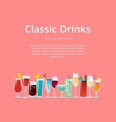 classic drinks poster cocktails wine and champagne vector image