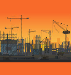 Construction skyline under construction sunset vector