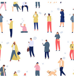 crowd with phones seamless pattern walking people vector image