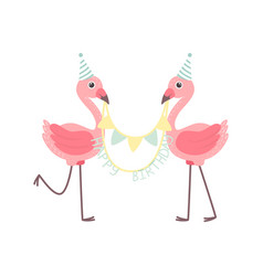 cute flamingos wearing party hats holding party vector image