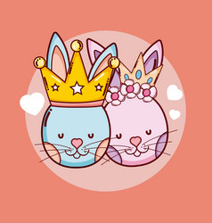 cute king and crown animals cartoons vector image
