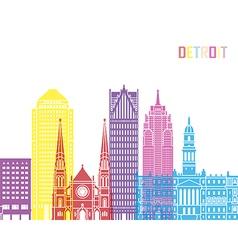 Detroit V2 skyline pop vector image