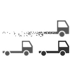 Disappearing pixel halftone truck chassis icon vector