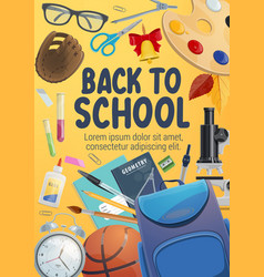 Education items and school supplies poster vector