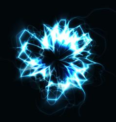 electric circle blue round lightning energy vector image