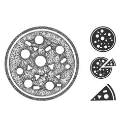 entire pizza polygonal web mesh vector image