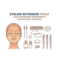 Eyelash extension tools eye patches vector