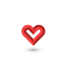 faceted red heart logo creative 3d symbol a vector image