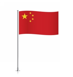Flag of China waving on a metallic pole vector