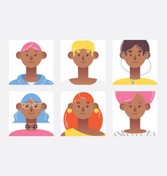 flat avatars collection with lovely young vector image