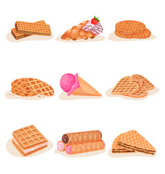 Flat set of delicious waffle desserts vector