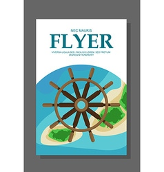 Flyer in flat style with a map of the island to vector image