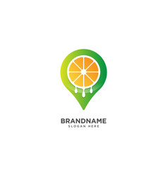 Fruit store logo design and pinned symbol vector