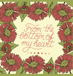 greeting card with lettering from bottom my vector image