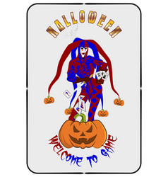 halloween 0001 joker and pumpkin vector image