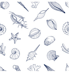 Hand drawn seamless pattern with seashells vector