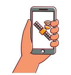 hand holding smartphone gps navigation satellite vector image