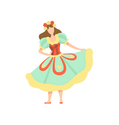 Happy girl in colorful dress at traditional brazil vector