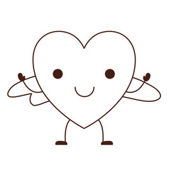 heart character kawaii with wings and smiling vector image