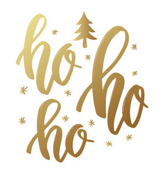 Ho ho ho lettering phrase in golden style on vector