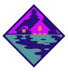house in woods logo cabin vector image