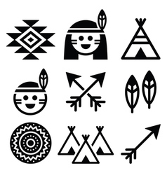 Indian American indigenous people culture icons vector