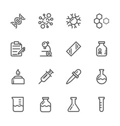 laboratory equipment icons set line icons vector image