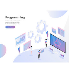 Landing page template computer programming vector