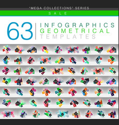 Mega collection of color geometrical infographic vector